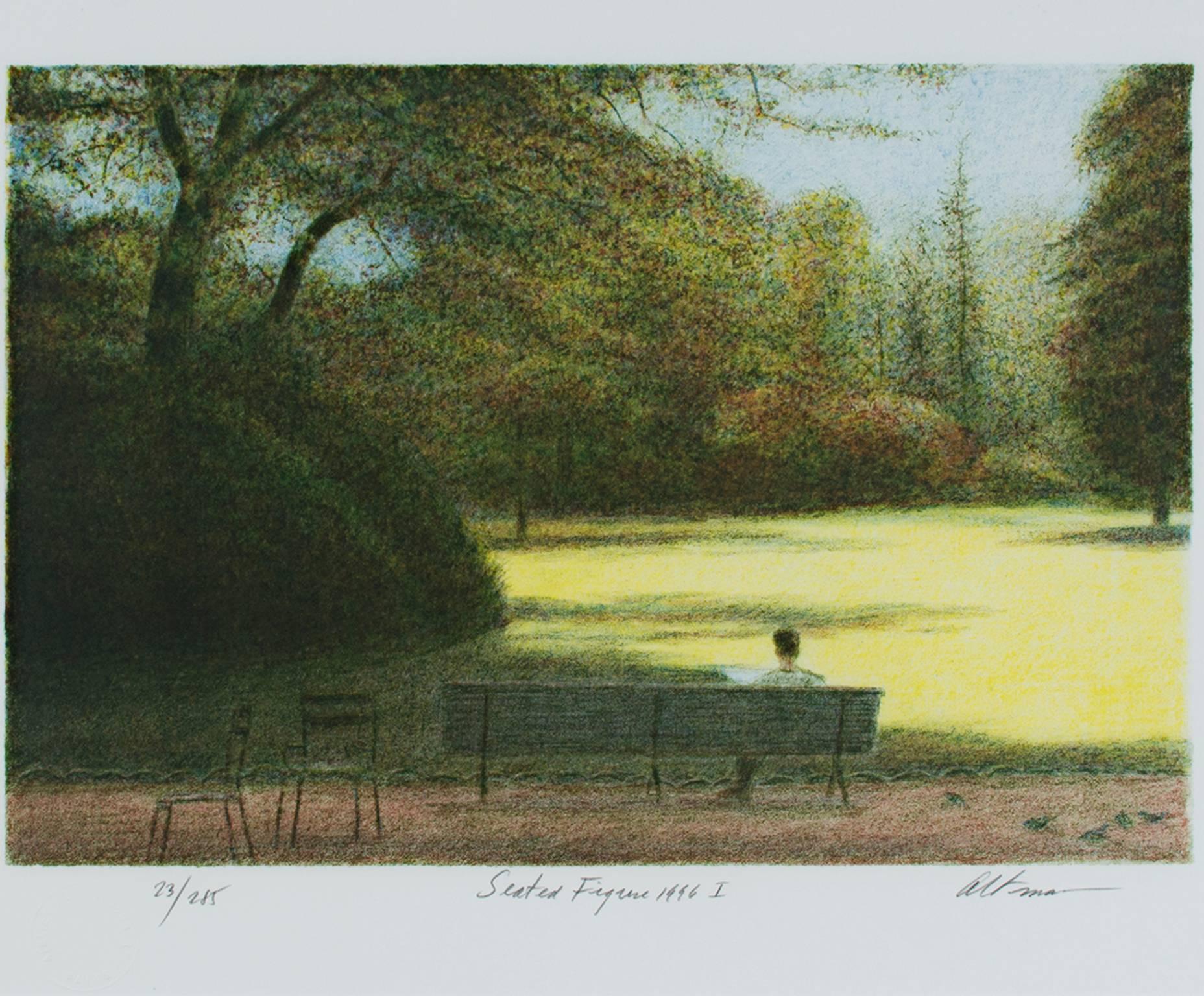 """Seated Figure,"" Original Color Lithograph Landscape signed by Harold Altman"
