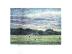 """Soccer,"" Original Color Lithograph signed by Harold Altman"