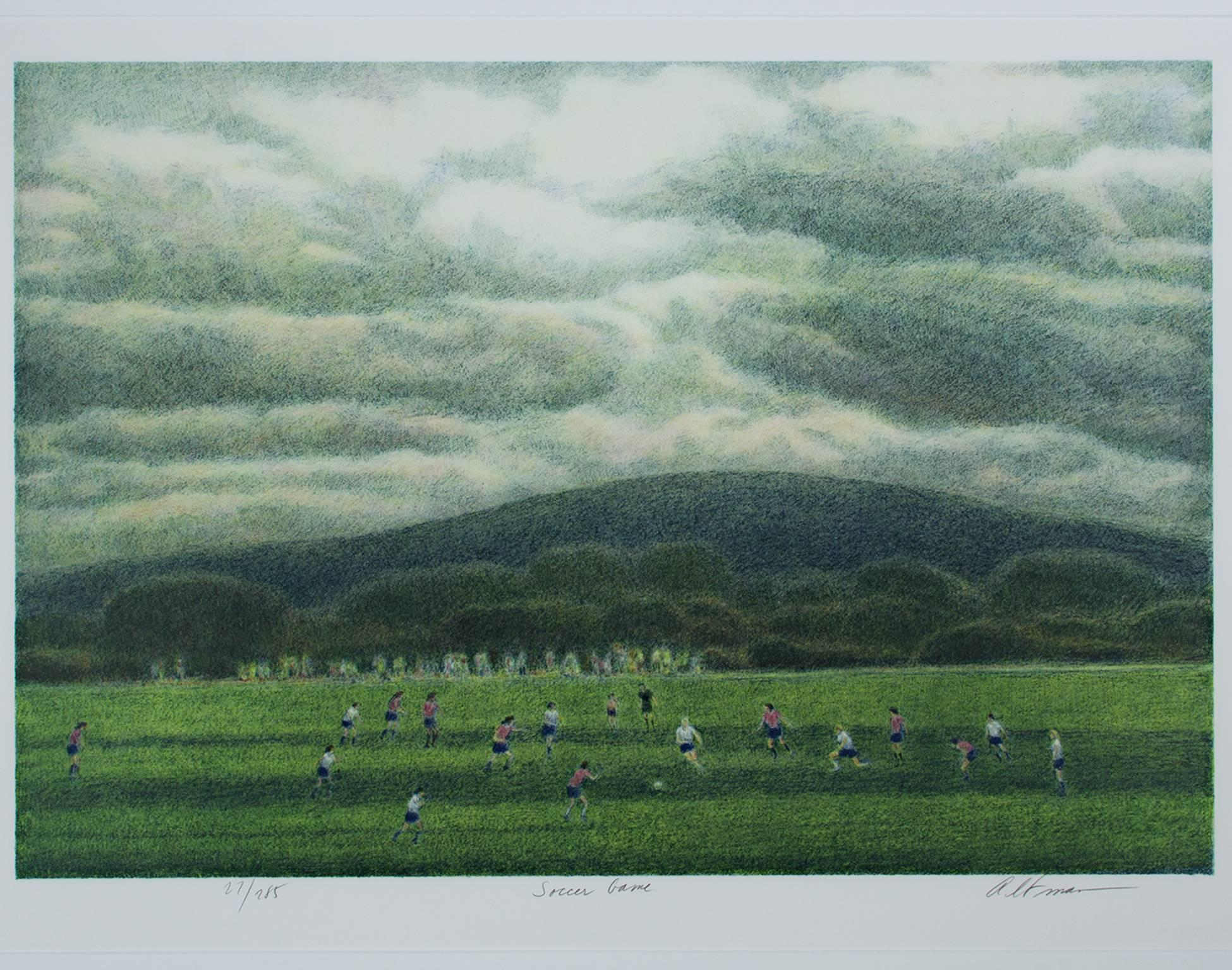 """Soccer Game,"" Original Color Lithograph Landscape signed by Harold Altman"