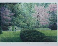 """Spring,"" Original Color Lithograph Landscape signed by Harold Altman"
