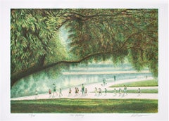 """The Outing,"" Original Color Lithograph signed by Harold Altman"