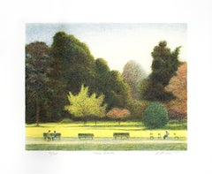 """Three Benches,"" Original Color Lithograph signed by Harold Altman"