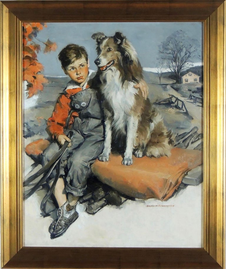Boy with Dog - Painting by Harold Anderson