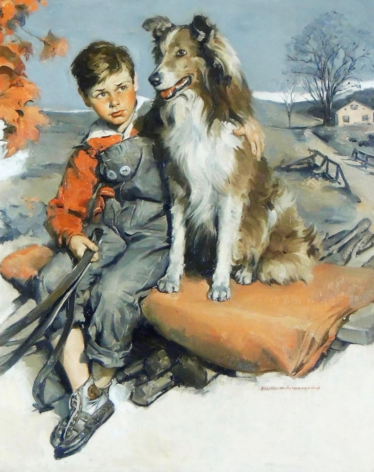 Harold Anderson Animal Painting - Boy with Dog