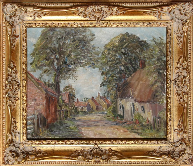 Artist: Harold Bennett, British (1880 - 19??) Title: Brigsley Village, Lincolnshire Year: 1920 Medium: Oil on Board, signed Size: 13 in. x 15.75 in. (33.02 cm x 40.01 cm) Frame Size: 18.5 x 21 inches