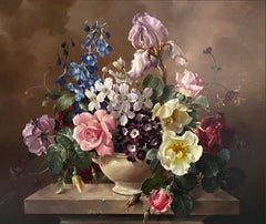 'Still Life of Summer Flowers' Colourful pink bouquet of bright roses & irises