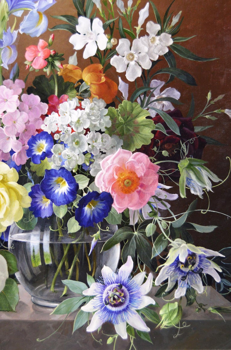 Harold Clayton - Still life oil painting of flowers in a ...