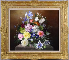 Still life oil painting of flowers in a glass vase