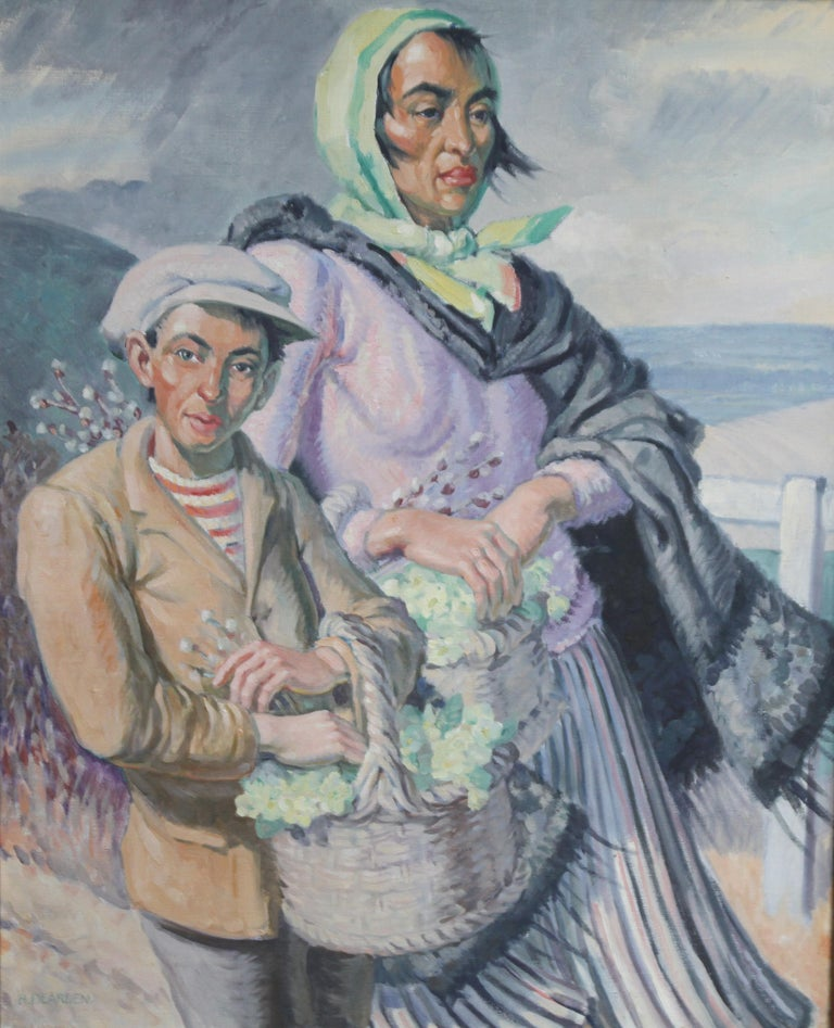 The Primrose Sellers - British 30's Post Impressionist oil portrait landscape  3
