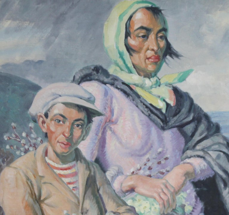 The Primrose Sellers - British 30's Post Impressionist oil portrait landscape  4
