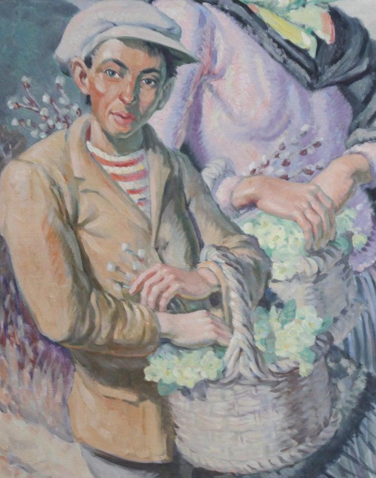 The Primrose Sellers - British 30's Post Impressionist oil portrait landscape  5