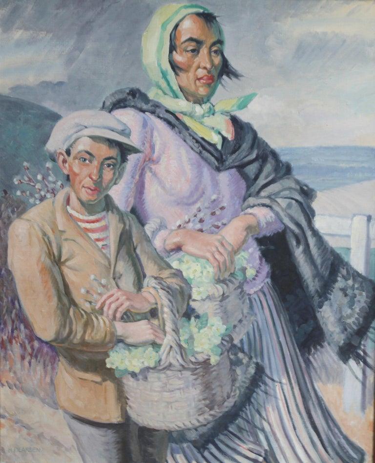 The Primrose Sellers - British 30's Post Impressionist oil portrait landscape  7