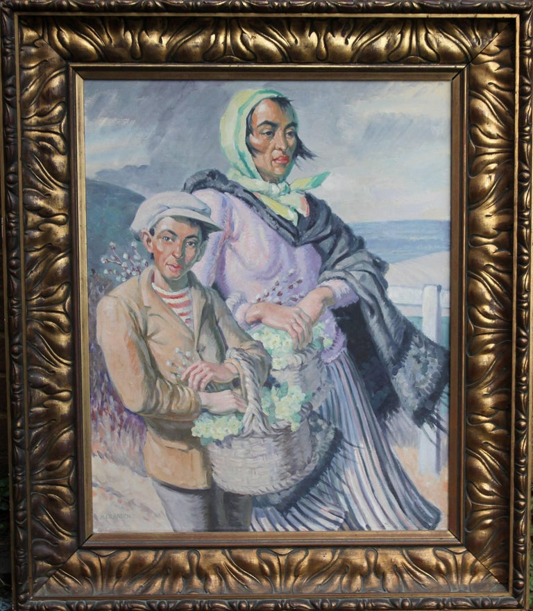 The Primrose Sellers - British 30's Post Impressionist oil portrait landscape  1