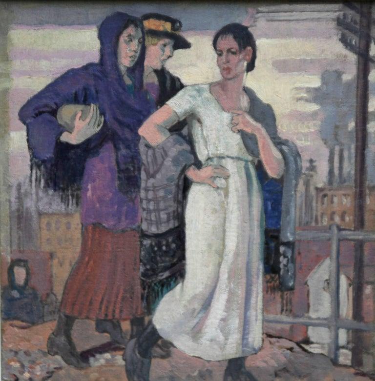 Three Graces - British Art Deco portrait oil painting women cityscape Greek myth 2