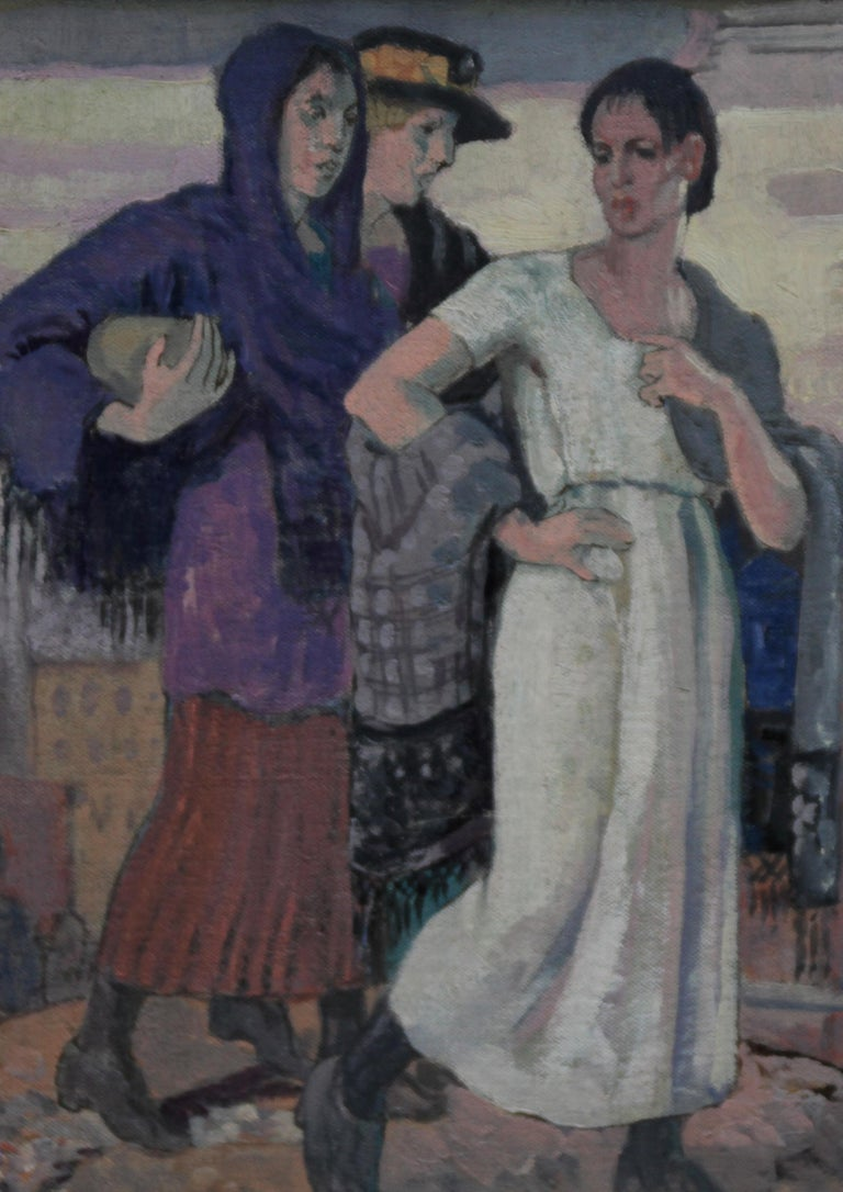Three Graces - British Art Deco portrait oil painting women cityscape Greek myth 3