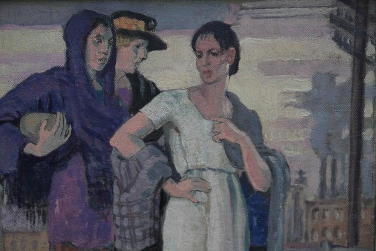 Three Graces - British Art Deco portrait oil painting women cityscape Greek myth 4