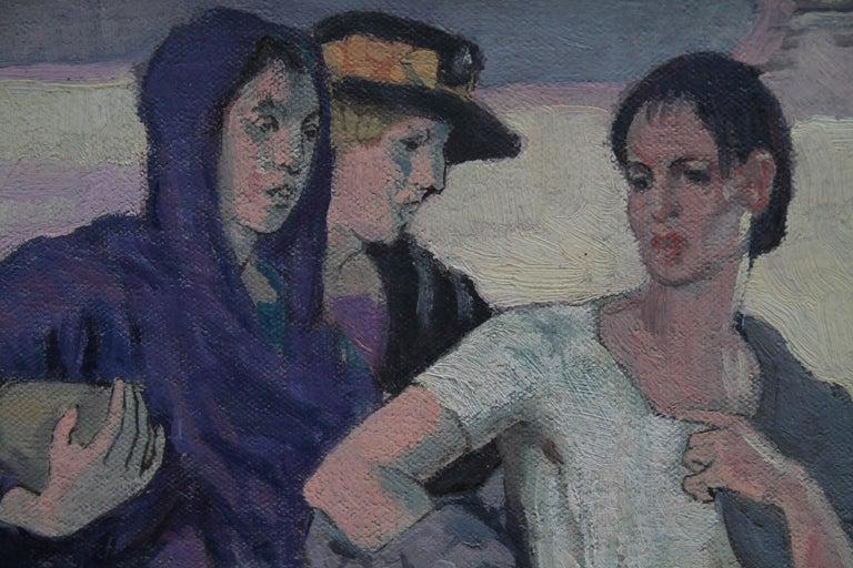 Three Graces - British Art Deco portrait oil painting women cityscape Greek myth 5