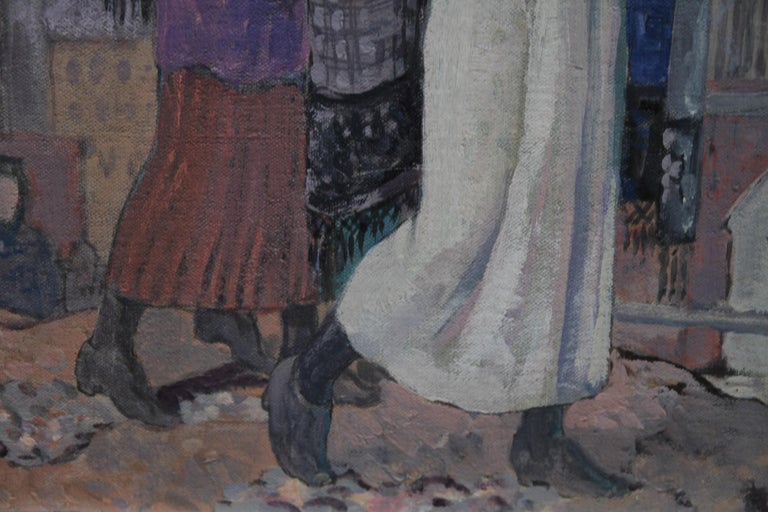 Three Graces - British Art Deco portrait oil painting women cityscape Greek myth 6