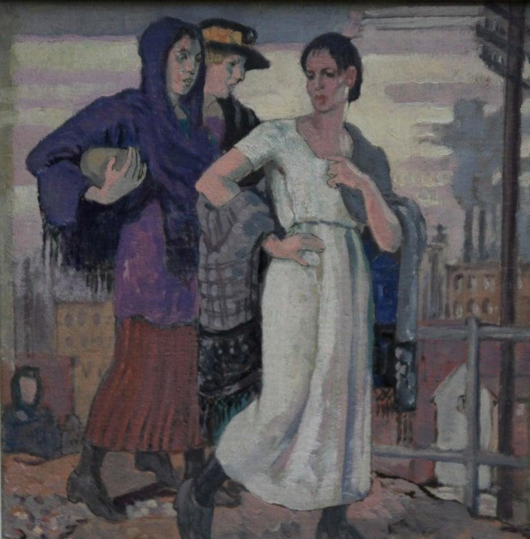 Three Graces - British Art Deco portrait oil painting women cityscape Greek myth 8