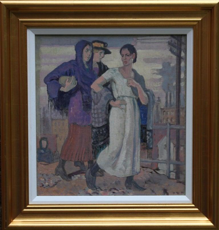 Three Graces - British Art Deco portrait oil painting women cityscape Greek myth 9