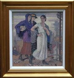 Three Graces - British Art Deco portrait oil painting women cityscape Greek myth