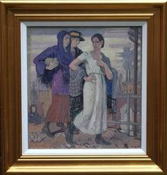 Three Graces - British Art Deco portrait oil painting women cityscape Greek myth