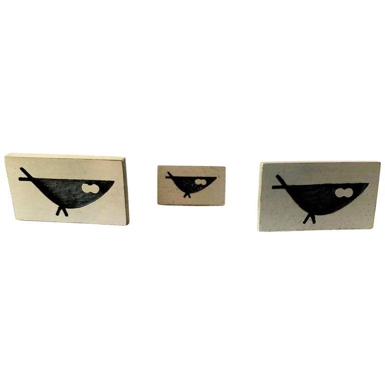 Harold Fithian Sterling Silver Modernist Bird Cufflinks Tie Tac Set