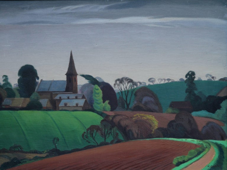 British Landscape - British 40s Expressionist art oil painting contryside church - Painting by Harold Gaster