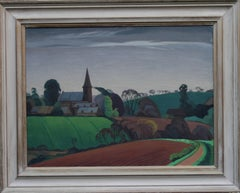 British Landscape - British 40s Expressionist art oil painting contryside church