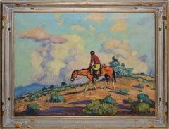 Taos School Landscape with Pueblo Indian on Horseback by Harold Betts