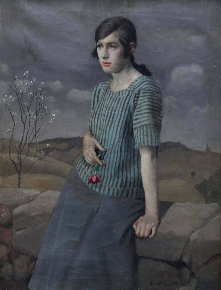 Clara - British Art Deco 20's female portrait landscape Newlyn oil painting  - Painting by Harold Harvey