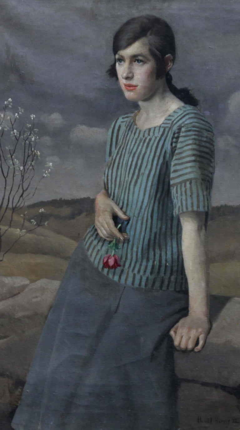 Clara - British Art Deco 20's female portrait landscape Newlyn oil painting  - Black Landscape Painting by Harold Harvey