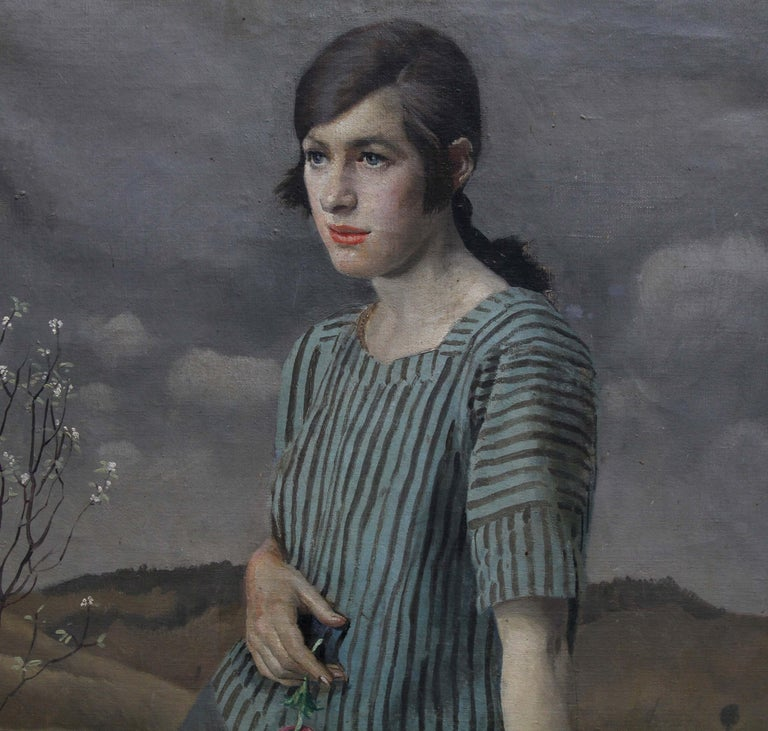 A superb portrait oil painting by noted British Newlyn school artist Harold Harvey. Painted in 1922 the sitter is Clara. A full length portrait, Clara is set in a landscape and holding a rose. In several of Harvey's portraits his female sitters are
