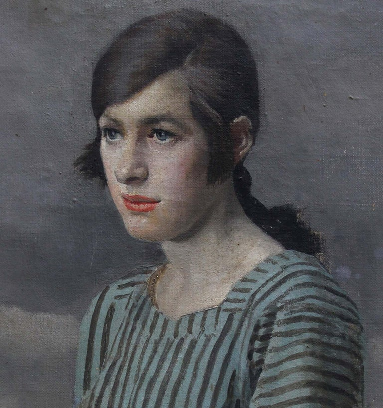 Clara - British Art Deco 20's female portrait landscape Newlyn oil painting  For Sale 1