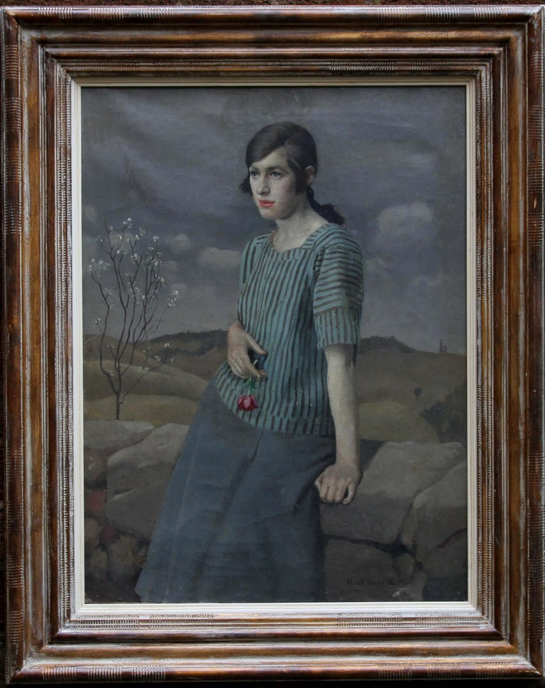 Clara - British Art Deco 20's female portrait landscape Newlyn oil painting  For Sale 5