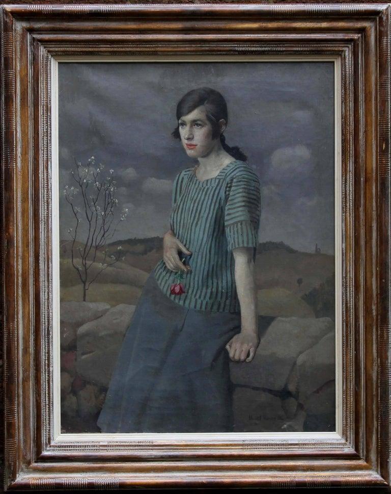 Harold Harvey Portrait Painting - Clara - British Art Deco 20's female portrait landscape Newlyn oil painting