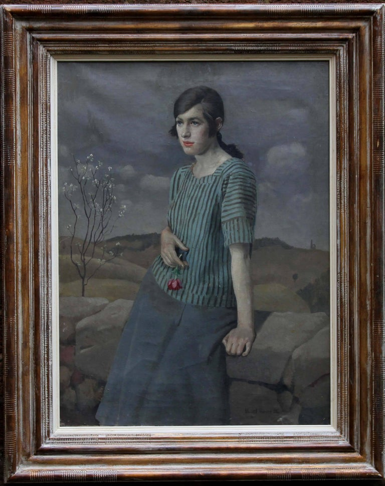 Harold Harvey Landscape Painting - Clara - British Art Deco 20's female portrait landscape Newlyn oil painting