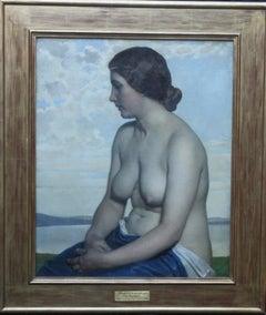 The Maiden - British Newlyn School art 1916 nude female portrait oil painting