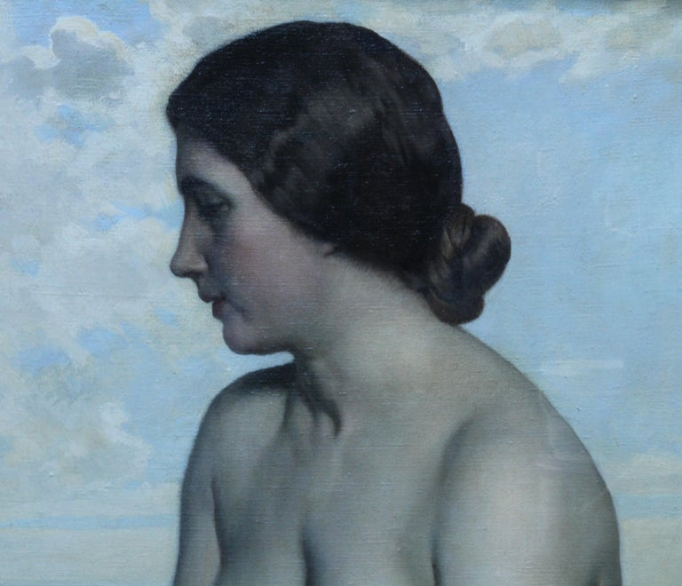 The Maiden - British Newlyn School art nude Laura Knight portrait oil painting - Gray Nude Painting by Harold Knight