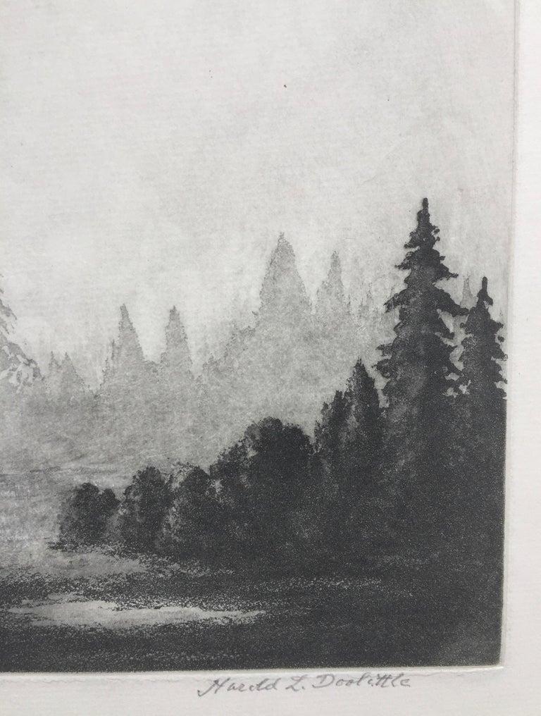 MORNING IN YOSEMITE  - American Realist Print by Harold Lukens Doolittle