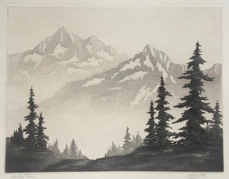 Harold Lukens Doolittle Landscape Print - WESTERN PEAKS