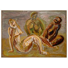 Harold Mesibov Modernist Figurative Oil Painting in Manner of Matisse, d. 1956
