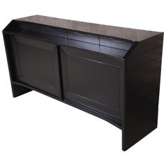 Harold Schwartz for Romweber Ebonized Bar Cabinet, Newly Refinished