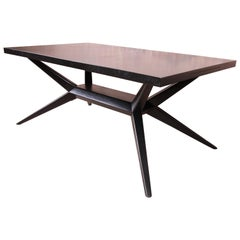 Harold Schwartz for Romweber Ebonized Spider Leg Dining Table, Newly Refinished