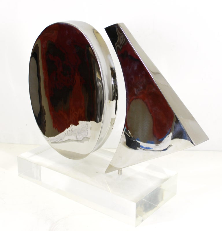 Harold Sclar Modern Abstract Chrome Sculpture on Acrylic Base In Good Condition For Sale In New York, NY