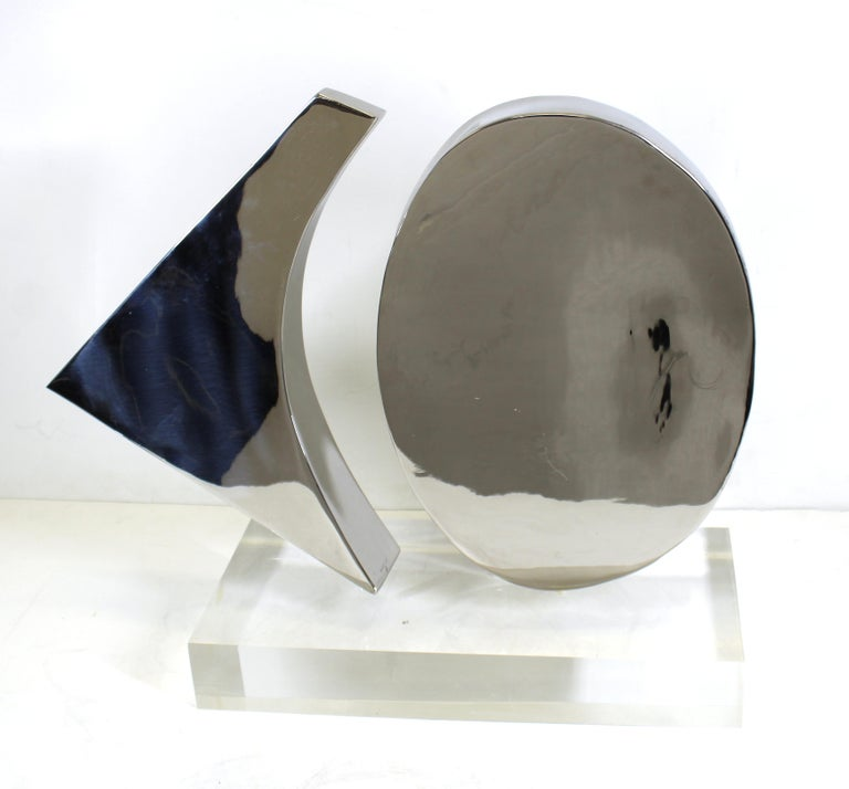 Harold Sclar Modern Abstract Chrome Sculpture on Acrylic Base For Sale 2