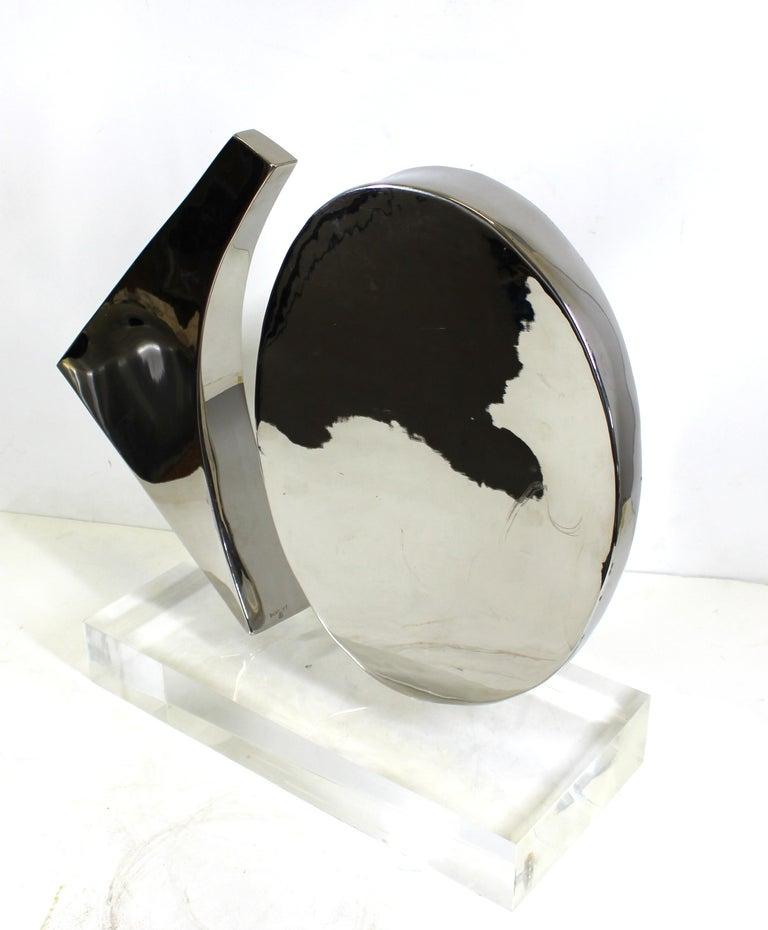 Harold Sclar Modern Abstract Chrome Sculpture on Acrylic Base For Sale 3