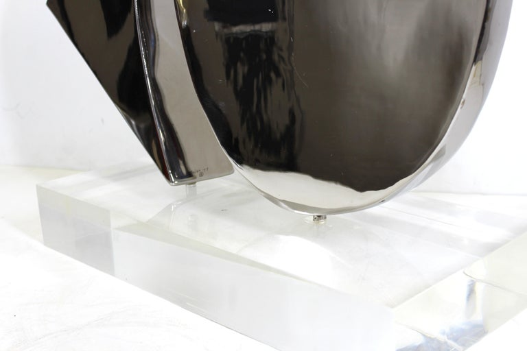 Harold Sclar Modern Abstract Chrome Sculpture on Acrylic Base For Sale 4