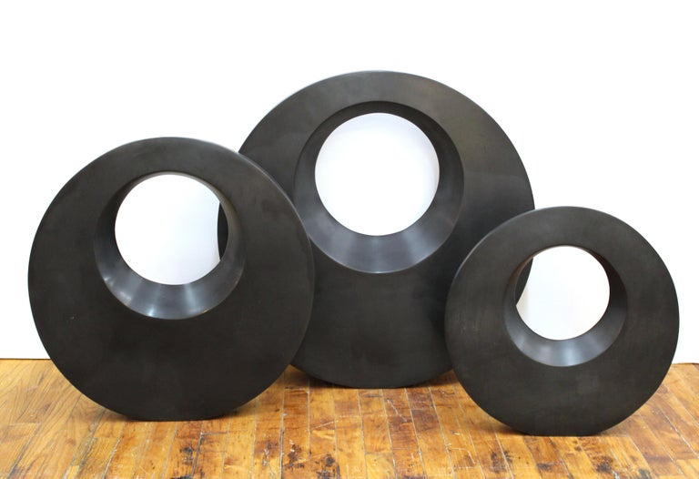 Contemporary Harold Sclar Modern Carved Stone Disc Sculptures For Sale