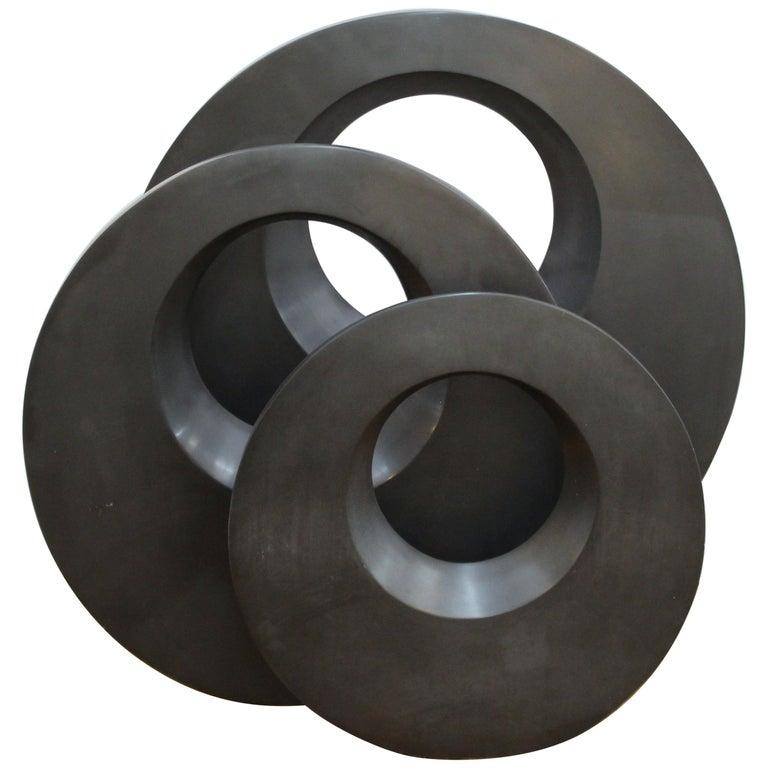 Masatoyo Kishi 'Kuki' Modern Cast Stone Disc Sculptures